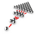 Social Marketing Concept. Chrome spheres with Arrows. 3d Renderi Royalty Free Stock Photo