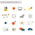Social marketing icons set of flat networking symbols media newsletter file exchange branding flat vector symbols Stock Photo