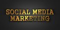 Social medi marketing business concept media gold text on dark background d render Stock Photography