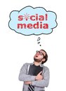 Social media accountant and speech bubbles with over head Royalty Free Stock Photo
