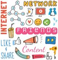 Social media background in doodle style vector illustration