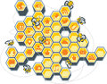 Social media bee hive vector illustration of a honeycomb filled with icons ai vector file included Royalty Free Stock Photography