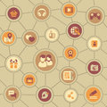 Social media brownish pattern seamless of the icons of relations in the internet Royalty Free Stock Image