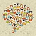 Sociální média bublina lidé dav