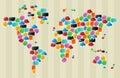Social media bubbles globe world map Royalty Free Stock Photo