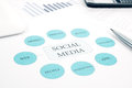 Social Media business concept flow chart. Pen, touchpad, smartphone background Stock Photo