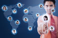 Social media businessman choosing his partner via futuristic interface with world map background Royalty Free Stock Photo