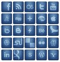 Social media buttons collection of most popular and network icons on blue denim texture background Royalty Free Stock Image
