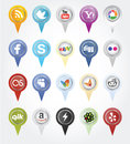 Social media buttons collection of most popular and network isolated on white background Stock Photography