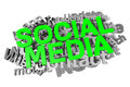 Social media buzzword infographic d graphics with in green Royalty Free Stock Image