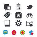 Social media. Chat speech bubble. Photo frames. Royalty Free Stock Photo