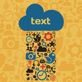 Social media cloud vector illustration of icons with copy space Stock Photos