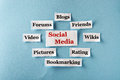 Social media collage word cloud printed on paper on blue font Royalty Free Stock Image