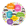 Social media colorful network design with group of people and speech bubbles Royalty Free Stock Photos