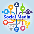 Social media communication concept on blue background Royalty Free Stock Images