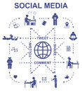Social media communication concept. Set vector pictograms and icons