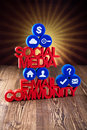 Social media communication,Internet concept,icons set Royalty Free Stock Photo