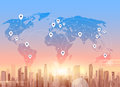 Social Media Communication Internet Network Connection City Skyscraper View World Map Background