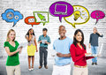 Social media communications group diverse Stock Photos