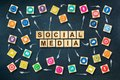 Social media concept with social icons on wooden blocks. Dark blue background.C