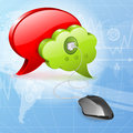 Social media concept mouse connected to icons speech bubbles vector illustration Royalty Free Stock Photo