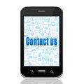 Social media concept - text on smartphone,cell phone illustration Royalty Free Stock Photo