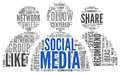 Social media conept in word tag cloud Royalty Free Stock Photo