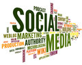 Social media conept in word tag cloud Royalty Free Stock Image