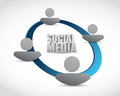 Social media cycle illustration design over a white background Stock Image
