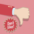 Social media dislike hand abstract vintage design Stock Images