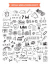 Social media doodle elements set hand drawn vector illustration of doodles isolated on white background Royalty Free Stock Photo