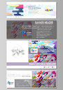 Social media and email headers set, modern banners. Abstract design templates, vector layouts. Bright color colorful