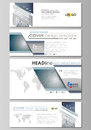 Social media and email headers set, modern banners. Business design template, vector layouts in popular sizes. DNA and