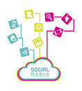 Social media flat design over white background vector illustration Stock Image