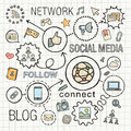Social media hand draw integrated color icons set vector sketch infographic illustration line connected doodle hatch pictograms on Stock Photos