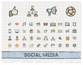 Social media hand drawing line icons. Royalty Free Stock Photo
