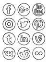 Social media hand drawn icons