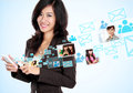 Social media on hightech concept happy businesswoman receiving and sending email Stock Photo