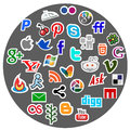 Social media icon dtickers facebook twitter skype windows apple like stickers Stock Photo