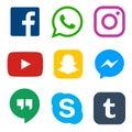 Social media icon for Facebook, Whatsapp, Skype, Youtube, Instagram, Snapchat, Hangout