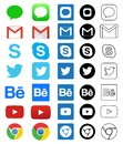 Social media icon for Facebook, Whatsapp, Skype, Youtube, Instagram, Snapchat, Hangout, Twitter