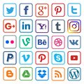 Social media icon flat line on popular Royalty Free Stock Photo