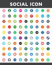 Social media icon in hexagon style. Beautiful color design for website, template, banner.