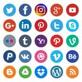 Social media icon rounded and colorful on popular