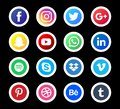 Social Media icon Set. Beautiful color circle icon design for website, template, banner, in black background.