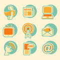 Social media icon set internet network and icons in vintage style Stock Photography