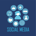 Social media icons on blue background Royalty Free Stock Photos