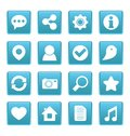 Social media icons on blue square this is file of eps format Royalty Free Stock Photos