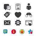 Social media icons. Chat speech bubble and Mail. Royalty Free Stock Photo
