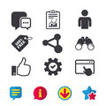 Social media icons. Chat speech bubble and Share. Royalty Free Stock Photo